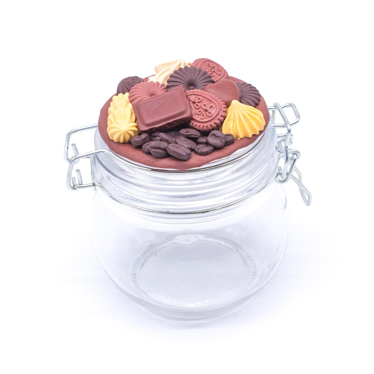 Буркан с клипс Шоколадов мус с декорация от полимерна глина, 800 мл.