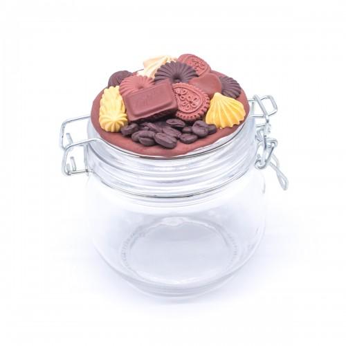 Буркан с клипс Шоколадов мус с декорация от полимерна глина, 450 мл.