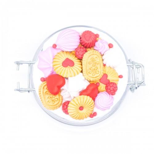Буркан с клипс Хрупкава бисквитка с декорация от полимерна глина, 450 мл.